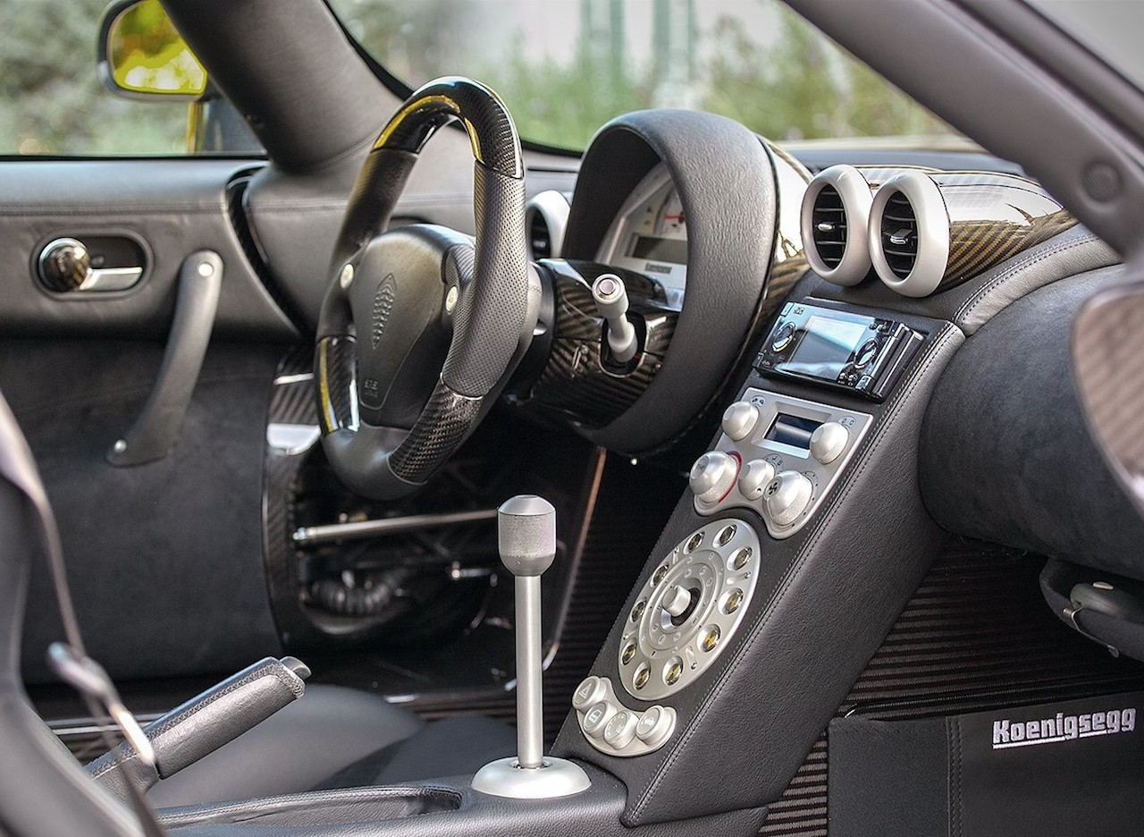 Koenigsegg CCX interior with circular aluminium bezels which inspired the protrusions